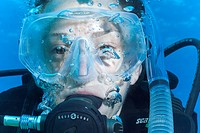 female scuba diver, Under water , diving, Hurghada, Red Sea, Egypt, Africa.