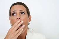 Mature woman yawning