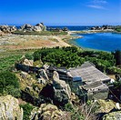 Backyard and ´Castel Meur´ house between rocks ´Plougrescant´ Brittany France