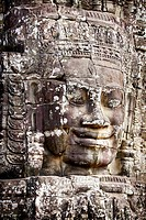 Angkor, Bayon Temple - One of 200 stone faces, Angkor Thom, Cambodia, Asia