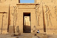 Egypt - Philae Island, Temple of Isis, reliefs on the pylons, South Egypt