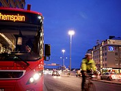 STOCKHOLM SWEDEN Hornstull section of town Bus and cyclist Public transport