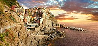 Photo of the fishing port of Manarola at sunset , Cinque Terre National Park, Liguria, Italy