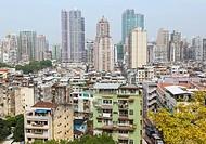 Macau, China. View over city apartment blocks.