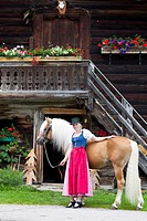 Haflinger Horse. Woman in traditional dress halding a stallion with a typical wooden house in background