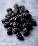 A pile of fresh blackberries on a steel background