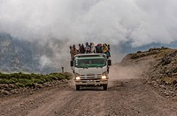 Lorry with lots of people, Simien Mountains National Park, Semien Gondar Zone, Amhara Region, Ethiopia