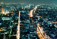 view of central Bangkok at night, Thailand