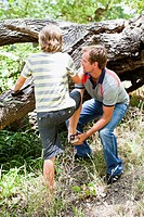 Father helping son over fallen tree