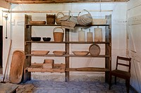 Shelf in the Gueglebener Hof farmstead, Hohenfelden Thuringian open-air museum, Thuringia, Germany, Europe