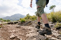 Hiker on the way to Puig de Galatzo, Majorca, Balearic Islands, Spain, Europe