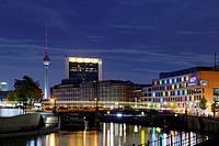View from the Reichstag riverside towards Alexanderplatz, TV tower, Spree River, Festival of Lights, Berlin, Germany, Europe