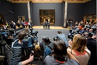 dutch minister of education, culture and sience: Jet Bussemaker (left), Stef Blok, minister of urban and govenrment (right) and director rijksmuseum W...