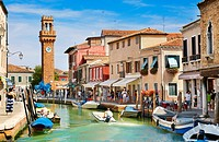Murano - canal of Fondamente dei Vetrai and Clock Tower, Murano Lagoon Island, Italy