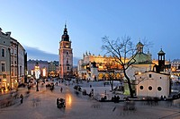 St. Adalbert´s Church, Cloth Hall and Tower of the former City Hall on Main market square, Krakow, Poland, Central Europe