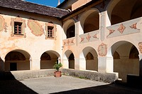 Courtyard of Saorge Monastery Roya Valley Alpes-Maritimes France
