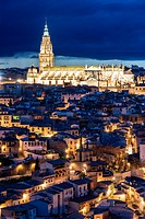 Night view of the Cathedral of Toledo, Castile La Mancha, Spain