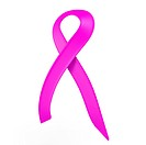 with a pink ribbon cancer symbo