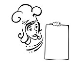Waitress with menu for restaurant design. Vector i
