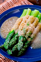 Asparagus with bread crumbs.