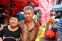 Singapore, Chinatown, shopping, market, marketplace, Asian, man, senior, boy, grandson, grandfather, family,