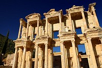 Morning sun on the ruins of the facade of the Roman Library of Celsus in ancient Ephesus Turkey
