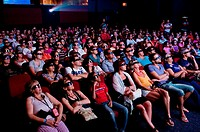 Miraflores locks museum 3D cinema spectators follows the film with a 3D glasses, Panama Canal, Panama, Central America
