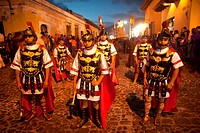 Men dressed as Roman legionaries lead the Jesus Nazareno del Milagro procession during Easter Holy Week in Antigua Guatemala, Guatemala, March 27, 201...