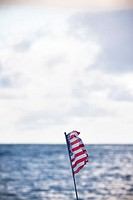 U.S. flag waving, Oahu, Hawaii