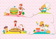 illustration images of a person and a fast food