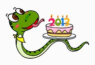 illustration of a snake and a cake with 2013 candles