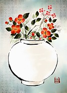 card front design of flower in a vase