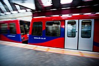 DLR train car in station