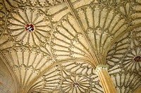 Oxford, England, UK. Christ Church College. Fan Vaulted Ceiling (1638) above the staircase (James Wyatt; 1805) to the dining hall (Hogwarts entrance h...
