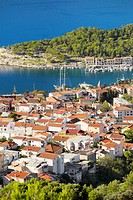 Croatia - Makarska Riviera, aerial view of Makarska Village, Dalmatia, Croatia