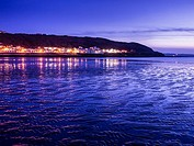 The North Devon coastal resort of Westward Ho! at dusk, England