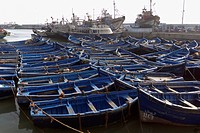 Blue Wooden Fishing Boats At The Harbor In Essaouira, Essourira, Morocco