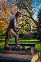 Bronze Statue Of Railroad Official Hammering;Edmonton Alberta Canada