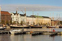 Scenic view of the Old Port in Katajanokka district of the Old Town in Helsinki, Finland.