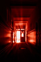 Hallway in red