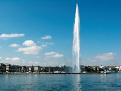 The fountain Jet d Eau in Geneva on Lake Geneva, Switzerland