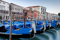Gondolas on the Grand Canal, Canal Grande, in the morning