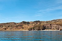 view from the water at the shore of Lake Titicaca, Peru, Taquile Island, Lake Titicaca