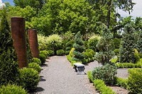 Gravel Path In The French Formal Garden At Route Des Gerbes D'angelica;Mirabel Quebec Canada