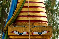 India, Buddha eyes on stupa belonging to Choki Lodro at Tashiding Monastery; West Sikkim