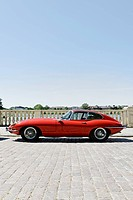 Jaguar E-Type, red, vintage car, historic automobile