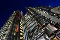Lloyd's building by Richard Rogers architect at night, London, UK