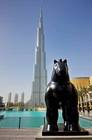United Arab Emirates, View Of Horse Statue With Burj Khalifa Hotel In Background; Dubai