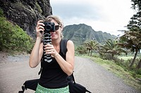 Tourist taking pictures, Oahu, Hawaii