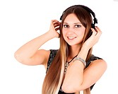 young blonde woman listening music